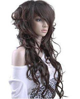 Wholesale New Sexy long hair dark brown curly lady wig wigs