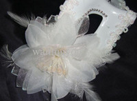 Wholesale DHL Christmas gifts Elegant Party mask Italian Mask Venice white mask feather flower mask
