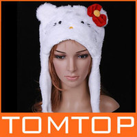 Wholesale 15pcs Hot sale Cute Cartoon Animal hats White hello cat Plush Soft Warm winter Hat caps Earmuff H2763