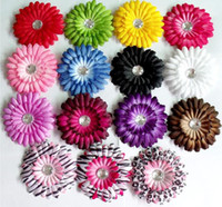 Cheap 240pc daisy flower hair clips Children's Hair Accessories flower clips with crystal center