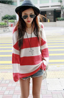 Wholesale L142 New Fashion Korea Style Autumn Wome s V Neck Stripe Long Sweater