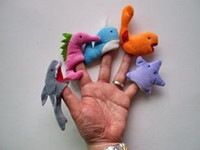 Wholesale marine animal finger puppets Plush Toys Christmas gift Finger Puppets style per set