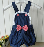 2-7years  S M L XL dark blue Girls Tank Tops pants bow-tie dark blue Girls Suspenders trousers Factory Direct