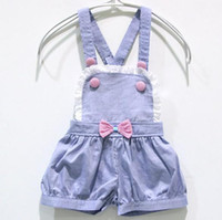 2-7years  S M L XL  Light blue Girls Tank Tops pants bow-tie Light blue Girls Suspenders trousers Factory Direct