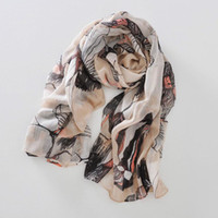 Wholesale Large Size Begonia Flower Long Scarf Shawl pink yellow green grey beige Blue
