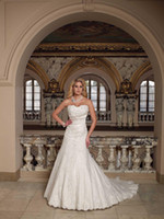 Wholesale Autumn Fall Bridal Gowns Wedding Dresses A line Applique Strapless Beaded Crystal Ruffled Flowers
