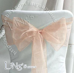 Factory direct sale!Lowest price--100pcs Peach Wedding Party Banquet Chair Organza Sash Bow