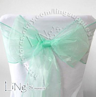 Wholesale Factory direct sale Lowest price Robins egg Blue Wedding Party Banquet Chair Organza Sash Bow