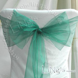Wholesale Factory direct sale Lowest price Teal Blue Wedding Party Banquet Chair Organza Sash Bow