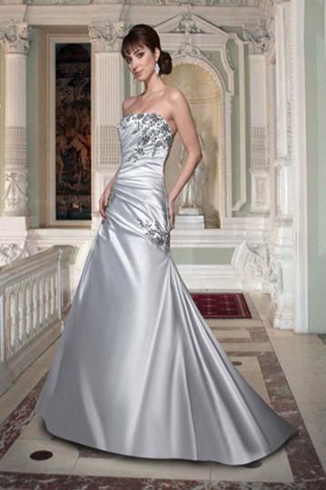 New da vinci wedding dresses silver a line satin strapless for Silver satin wedding dress