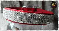 Wholesale DC018 Size quot M hot selling bling rhinestone dog collars with crystal buckle fashion PU leather luxury pet products MOQ