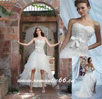 wedding dresses 2011 - Hot Sale Strapless Short Front Long Back Wedding Dresses Beaded Organza Bride Prom Dress Empire
