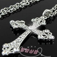 cross necklace crystal - Shining crystal cross necklace charm pendant high quality silver palted christmas gift
