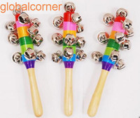 Wholesale Hot Sale Cartoon Baby Rattle Rainbow Rattles With Bell Wooden Toys Orff Instruments Educational Toy