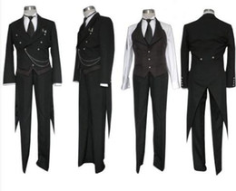 Wholesale New Black Butler Kuroshitsuji Sebastian Michaelis Cosplay Costume Wig Accessories Watch