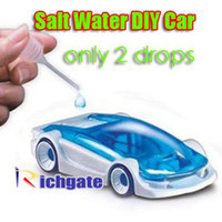 Wholesale 10pcs Salt Water Power Fuel Cell Cars Kit Sodium Chloride Kinetic Energy Funny DIY Assemble Car Toy
