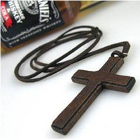 Wholesale ON SALE Wooden brown black lady charming CROSS necklace pendant Cheap delicate necklace HOT