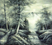 Wholesale Landscape Oil Painting on Canvas Forest in Black and White Unframed Gallery Quality Painting ON SALE