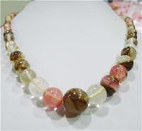 Wholesale 6 mm Watermelon Tourmaline Gems Round Necklace