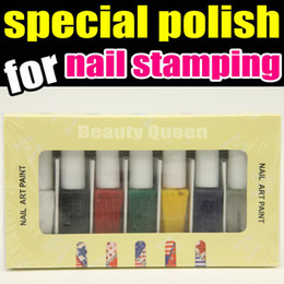 7color Nail Art Special Polish Varnish Paint Specializ for Nail Stamping Plate Stamp Print Template