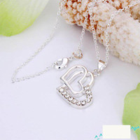 Wholesale Shining diamond Double Heart Pendant Necklace inch silver Jewelry Hot