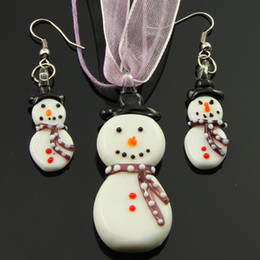 Snow man murano lampwork blown venetian glass necklaces pendants and earrings jewelry sets Mus032 cheap china fashion jewelry