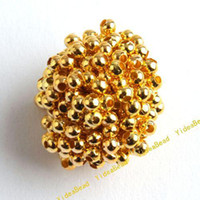 Seed   2000 New Gold Tone Crimp Stopper Spacer Charms Beads Fit DIY Handcraft Accessories 2mm 160204