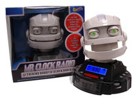 Wholesale Mr Clock Radio Robotic Alarm Clock Radio Sound LED lit eyes shaking head