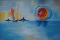 Wholesale Landscape Oil Painting on Canvas The Sun and the Sea Handmade Unframed Gallery Quality Art for Sale
