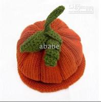 Baby pumpkin beanie handknit crochet halloween 0- 8Y children...