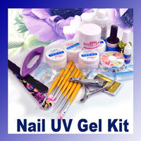 Wholesale Full Set acrylic Nail Art kit Combo Manicure UV Gel sparkle Tips polisher Brushes