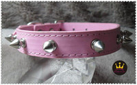 Wholesale spiked dog collar hot selling leather pet products with strong studs Size quot S MOQ