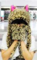 Wholesale cat ears Cute Cartoon Animal Cap with gloves Earmuff Beanie fluffy plush Hat