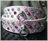 Collars luxury pet products - 7 quot S stylish dog collar fashion leather pet products with bling luxury rhinestones MOQ