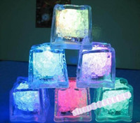 Wholesale 90pcs LED Ice Cubes Flash Light wedding Party light ice crystal Cube color flash Christmas gifts