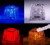 Wholesale 50pcs LED Ice Cubes Flash Light wedding Party light ice crystal Cube color flash Christmas gifts