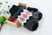 Wholesale winter warm gloves knitted cute girl strawberry gloves free shippment pairs mix order