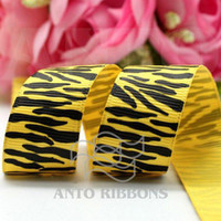 Wholesale 7 quot Zebra ribbon Polyester webbing grosgrain ribbons printed ribbon yellow Yards Roll