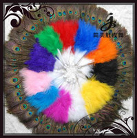 Lolita Accessories belly dance fans feather - Hot sale colours lady Belly Dance costume Peacock Eye Feather Hand Fan for party wedding white