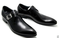 Wholesale RIANCESS first layer of leather buckle men pointed a simple dress shoes to help low atmospheric