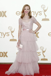 Wholesale 2012 New Sexy Pink Evening Dresses Sweetheart Long Sleeves Applique Lace Celebrity DressesJayma Mays