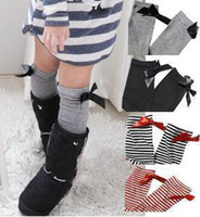 Wholesale Children Baby Socks Girl Long Socks Bow Cotton Stripes Keen High Boots Stockings Princess Style Bowknot Sock