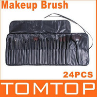 Wholesale Cheap set Black Goat Hair Nylon Wooden Makeup Brush Set With Roll Up Leather Bag Case H4455