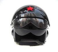 Open Face Helmet air helmets - HOT SELL Chinese Air Force Jet Pilot Casco Scooter Casque Helm Open Face Motorcycle Black Helmet Adult Size M L XL XXL