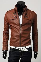 Wholesale 2011 Men s Brand design high quality pu leather outwear jacket jackets size M XL