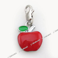 clip on charms - 12pcs Red Apples Clip On Charm Fit Chain Bracelets