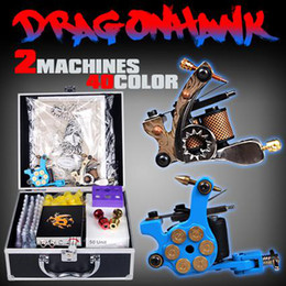 Wholesale New top Two guns Tattoo kit with bottle of tattoo inks Tattoo Needles