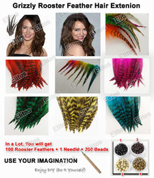 Grizzly Rooster Feather Hair Extension 100pc Feathers Extensions + 1 Needle + 200 Beads GRF201