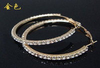 Wholesale 15 pairs rhinestone crystal earring Studded Hoop Earrings Valentine s Day silver gold color