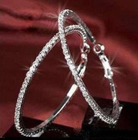 Wholesale 36 pairs rhinestone crystal earring Studded Hoop Earrings Valentine s Day silver gold color